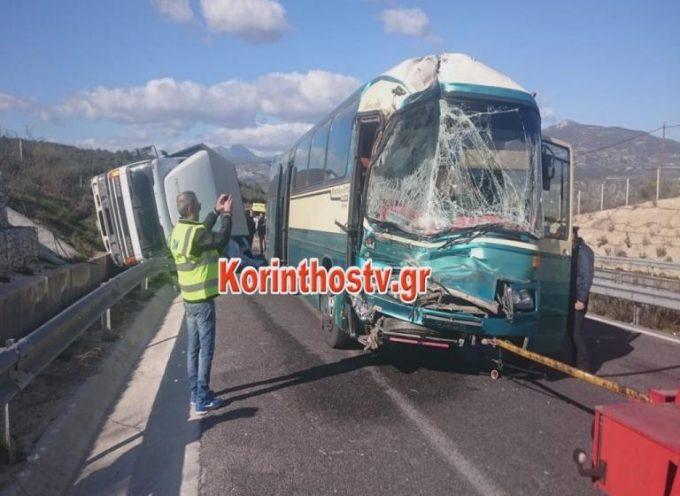 Τροχαίο στην Κορίνθου Τρίπολης με 3 τραυματίες – Σύγκρουση λεωφορείου με φορτηγό [pics]