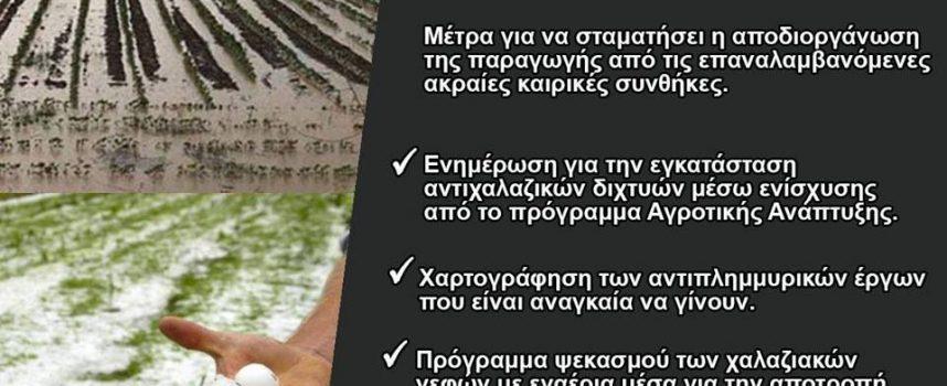 Οδ.Κωνσταντινόπουλος: Να υπάρξουν άμεσα μέτρα προστασίας για την αντιμετώπιση των ακραίων καιρικών φαινομένων που πλήττουν τη γεωργική παραγωγή