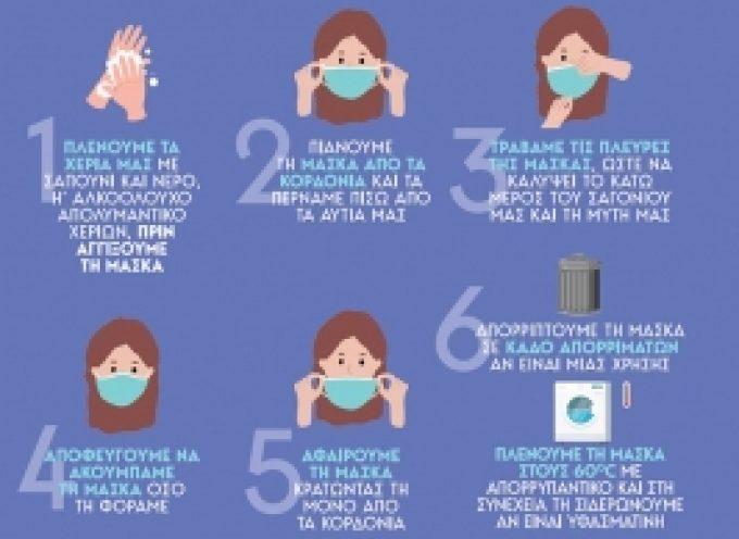 Ο Δήμος Βόρειας Κυνουρίας ενημερώνει για τους κανόνες χρήσης της προστατευτικής μάσκας